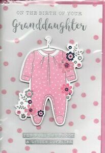 New Baby Granddaughter Card For Grandparents Modern Design Size 20cm x 14cm