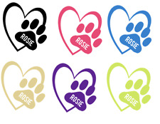 Personalised Paw Car Window Sticker, Pet Paw Print with Heart,Car Dog Cat Name,