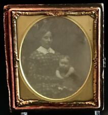 Antique Daguerreotype, Sixth Plate, Half Case. Mother And Child