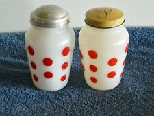 Vintage Anchor Hocking Fire King Red Polka Dot Salt & Pepper Shakers