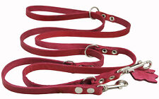 "Genuine Leather Dog Leash Schutzhund 6-Way European Lead 49""up to 94"" long Small"