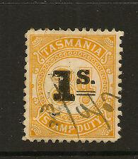 TASMANIA :1907 1/- on 3d STAMP DUTY,perf 11 1/2 x11.00-BAREFOOT 52 used