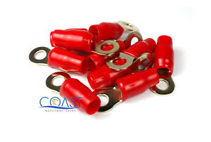 Ring Terminal Gold Plated w/ Red Crimps 4Gauge AWG RT4R - 10 pcs