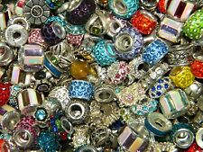 NEW 15/pc Large Hole Fancy Crystal 10-14mm Spacer charm MIXED European Beads LOT