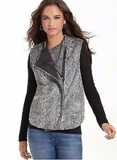 NWT RACHEL ROY Faux Fur Sleeveless Vest Asymmetrical Zip Gray Black  M $149!