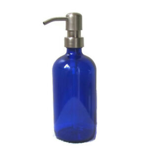 Cobalt Blue Glass Soap Dispenser 16 oz with Stainless Steel Soap Dispenser Pump