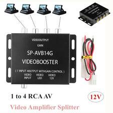 1 to 4 4-way RCA AV Video Amplifier Splitter Booster for Car LCD DVD Player 12V