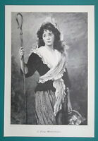 LOVELY GIRL Rustic Maiden Daisy Flowers Seller - VICTORIAN Era Print