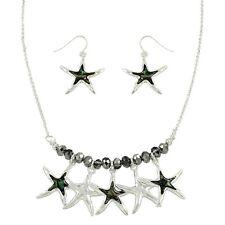 "Starfish Fashionable Necklace & Earrings Set - Abalone Paua Shell - 16"" Chain"