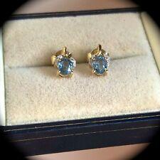 """Sapphire & diamond Earrings Solid 9k Y Gold """"CERTIFIED SI"""" Beautiful! BNWT"""