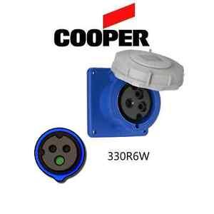 IEC 309 330R6W Receptacle, 30A, 250V, 2P/3W, Blue - Cooper # AH330R6W