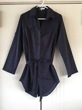 Womens Clauded'Alban Paris Navy Button Down Adjustable Sleeve Shirt Size M
