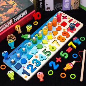 Montessori Educational Wooden Toys Children Busy Board Math Fishing Counting Toy