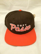 OBEY Genuine Snapback Hat Cap adjustable Brown Orange
