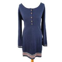 Joe Browns Size 14 Navy Blue Button Front Jumper Dress A Line Knee Length Winter