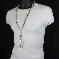 Men Hip Hop 8mm SILVER & GRAY Crystal Glass Cut Rosary Jesus Cross COIL Necklace