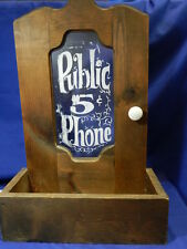 Vintage Public 5 cent Phone Hanging Wall Telephone Booth Box VT1258