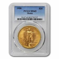 1908 $20 St. Gaudens Gold Double Eagle w/Motto MS-65 PCGS