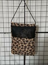 Brown Cheetah Skin  7 x 9 bonding pouch with neck strap