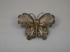 Vintage Large Sterling Silver 925 Filigree Butterfly Brooch Pin Portugal
