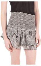 """NWT $685 ISABEL MARANT """"Aura"""" Smocked Ruffle Mini Skirt SZ 42 Mainline Grey"""