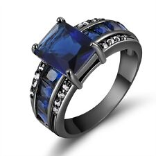 Fashion Size 8 Aaa Blue Sapphire Black 18K Gold Filled Womens Mens Wedding Ring