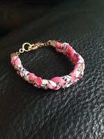 Liberty Of London X J Crew Bracelet Rhinestone Fabric Pink Floral Berries Berry