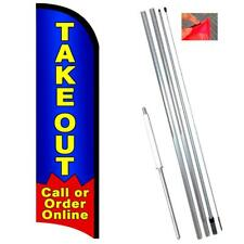 Takeout Order Online Premium Windless-Style Feather Flag Bundle 14' OR Replaceme