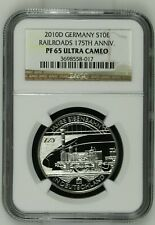 2010 Germany Silver 10 Euro Coin - Railroads 175th Ann - NGC PF 65 Ultra Cameo