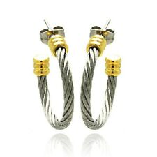 Stainless Steel Yellow Gold Plated Two Tone Cable Stud Earrings