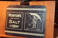 "Vintage Morton Salt Metal Sign 6-1/2"" x 8-1/2"" Free Running It Pours Bristolware"