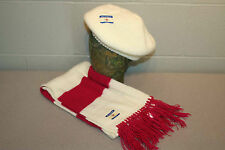 Nos Vtg 70s 2pc Cream Pink Stripe Scarf Beret Stocking Hat Cap Artex Knit Set