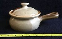 Handmade Crock With Lid_Artist Signed Pottery_Loop Handle_Browns_Exc_SHIPS FREE