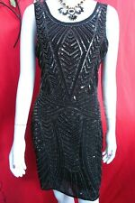 Yumi Black beaded sequin Peaky Blinders flapper cocktail evening dress UK 12 NWT