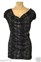 C&A Ladies Black & Silver Glitter Cap Sleeve Party Top Tunic Size S M 10 - 14