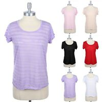 Girls Summer Sheer Striped T Shirt Top Short Sleeve Round Neck Casual S M L