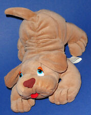 """Prestige Puppy Dog Wrinkles Tan Brown  Blue Eyes Little Red Tongue 8"""" 1985"""