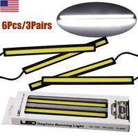 3 Pairs COB White 84 LED DRL Daytime Running Light Backup Interior Strip 12V 6W