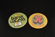 Math - Reading Lot of 2 Buttons pins Irregular Free S/H School Student Pupil