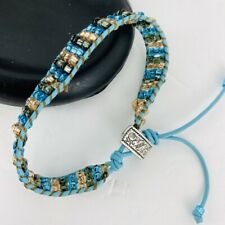 Blue Leather Wrap Bracelet Crystal Silver Tone Boho Adjustable Bling Handmade