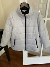 Womens Reversible Country Road Puffer Jacket -  Light Grey/Black - Size L - $70