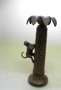 wunderschöner Kerzenhalter mit Affen schwer Metall Gußeisen?