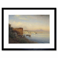 Painting Seascape City Flamm Bay Naples Queen'S Palace Framed Print 12x16 Inch