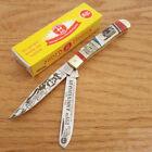 Kissing Crane Abe Lincoln Trapper Pocket Knife Stainless Steel Blade Bone Handle