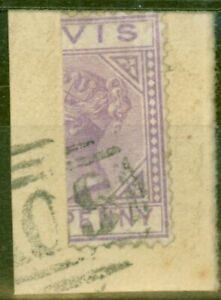 Nevis 1880 1d Lilac-Maive SG23a Bisected on Piece Fine Used Scarce