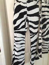 Moschino Jeans Zebra Vintage Trousers Size 34 14 Black White Flare Animal Print