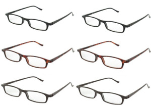 Reading Glasses Mens Eyewear Slim Frame 4 Pair Lot New +1.50 to +3.50 Strength