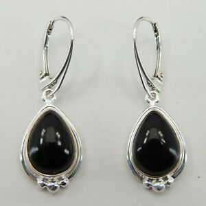 Genuine and Natural BLACK ONYX Drop Earrings 925 STERLING SILVER Leverback #24