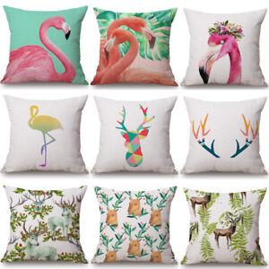 18'' Flamingo & Elk Cushion Cover Pillow Case Cotton Linen Sofa Car Home Decor