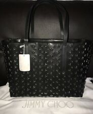 NWT New Jimmy Choo Metal Star Studded Black Leather XLarge Tote Shoulder Bag